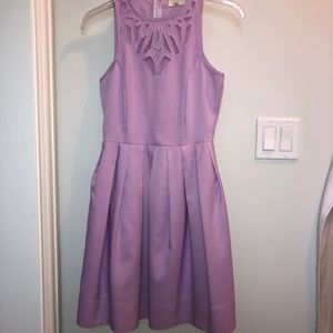 Lavender Dress with Mesh Cutouts